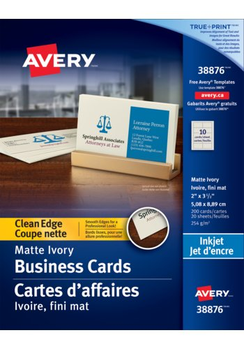 Avery® 38876 - Carte d'affaires à coupe nette ,  2in. x 3-1/2in., Rectangulaire, Ivoire