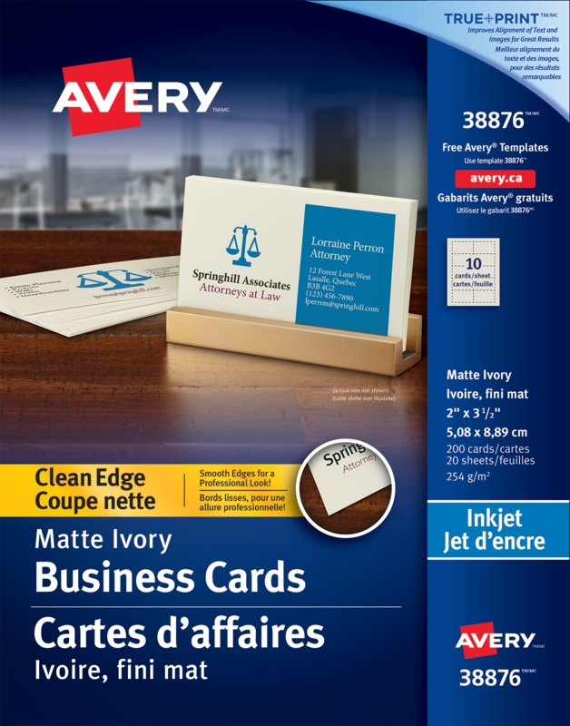 Avery 38876 clean edge business cards 2 x 3 12 rectangle ivory thumb1 38876 reheart Images