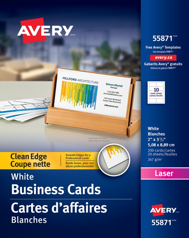 Avery 55871 clean edge business cards 2 x 3 12 rectangle white avery 55871 clean edge business cards 2in x 3 1 reheart Images