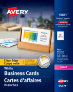 Avery<sup>&reg;</sup> Cartes d'affaires à coupe nette pour imprimantes à laser 55871