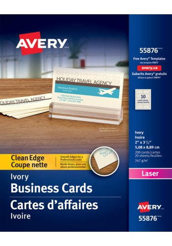 Avery® 55876 - Clean Edge Business Cards ,  2in. x 3-1/2in., Rectangle, Ivory