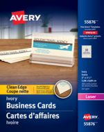 Avery<sup>&reg;</sup> Cartes d'affaires à coupe nette pour imprimantes à laser 55876