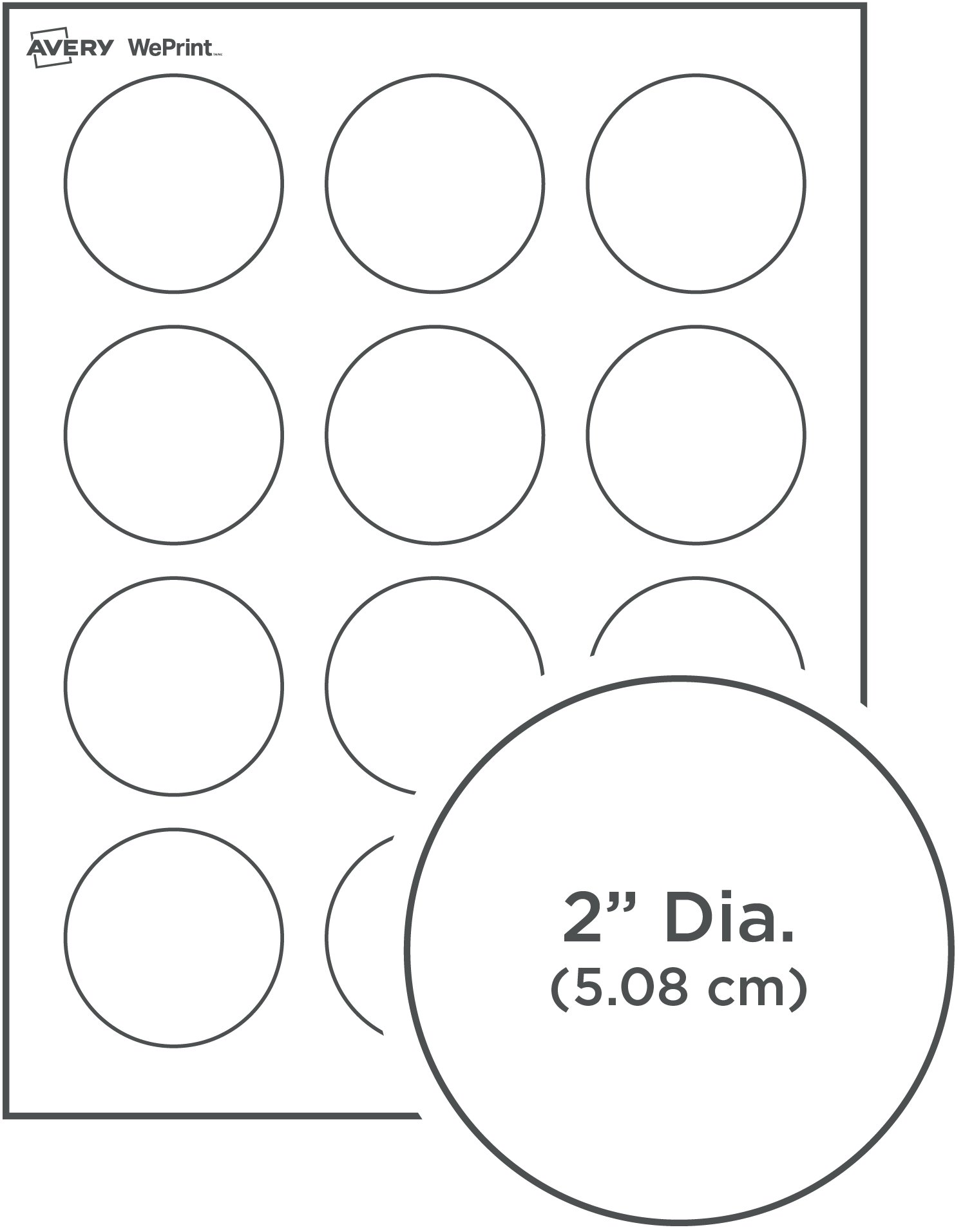 Round labels for Avery 2 round label template