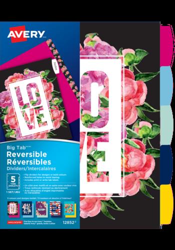 Avery<sup>&reg;</sup> Big Tab&trade; Reversible Dividers - Floral Message - Avery<sup>&reg;</sup> Big Tab&trade; Reversible Dividers