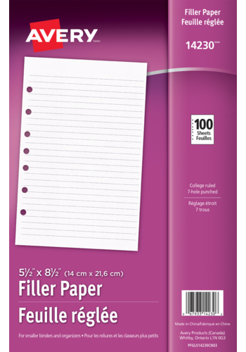 Avery<sup>&reg;</sup> Filler Paper - Avery<sup>&reg;</sup> Filler Paper