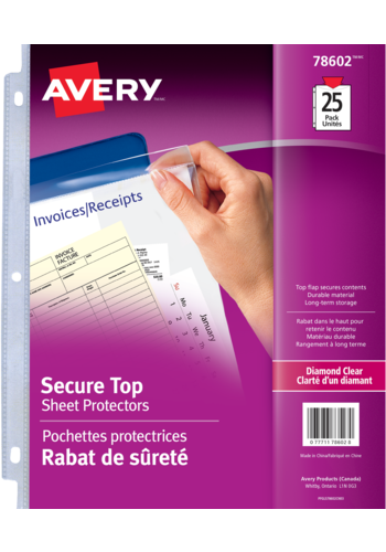 Avery<sup>®</sup> Diamond Clear Secure Top Sheet Protectors - Avery<sup>®</sup> Diamond Clear Secure Top Sheet Protectors