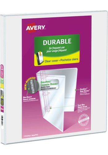 Avery® 34075 - 1/2 inch Durable View Binder,  Holds 8½in. x 11in. Paper, White