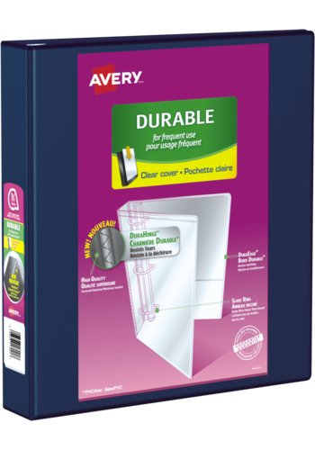 Avery® 17024 - Durable View Binder,  Holds 8½in. x 11in. Paper, Navy