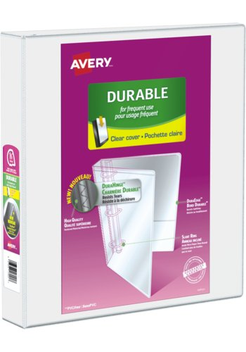Avery® 17022 - Durable View Binder,  Holds 8½in. x 11in. Paper, White
