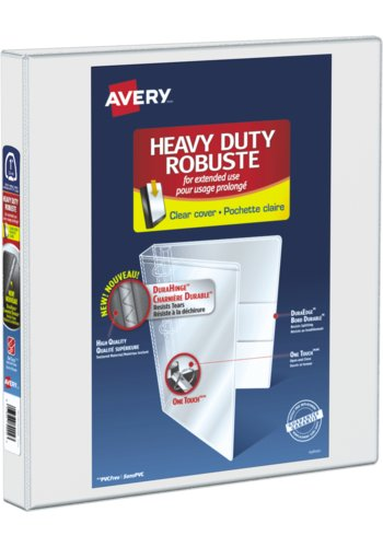 Avery® 89000 - Heavy Duty View Binder,  Holds 8-1/2in. x 11in. Paper, White