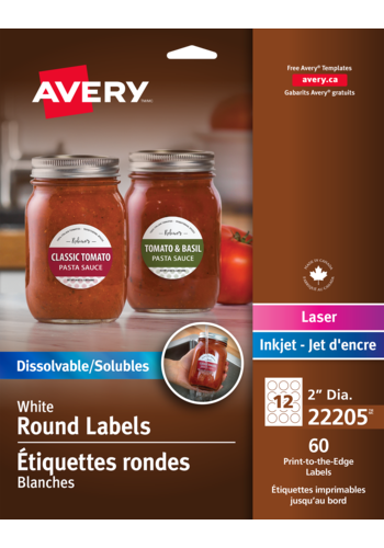avery 22205 print to the edge dissolvable round labels 22205 2