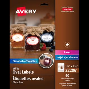 Avery® Étiquettes solubles ovales et imprimables jusqu'au bord