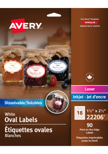 Avery<sup>®</sup> Print-to-the-Edge Dissolvable Oval Labels - Avery<sup>®</sup> Print-to-the-Edge Dissolvable Oval Labels