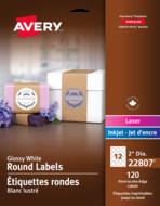 Avery<sup>®</sup> Étiquettes rondes imprimables jusqu'au bord pour imprimantes à laser ou jet d'encre 22807