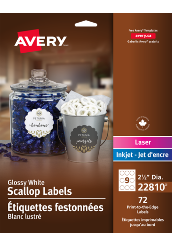 Avery<sup>&reg;</sup> Glossy White Scallop Labels - Avery<sup>&reg;</sup> Glossy White Scallop Labels