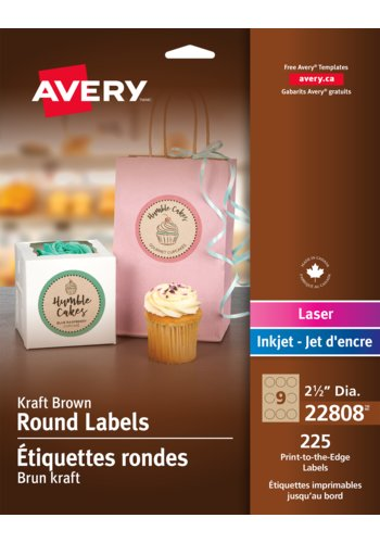 Avery Kraft Browne Round Labels, 22808, 2-1/2in. Diameter, Print-to-the-Edge
