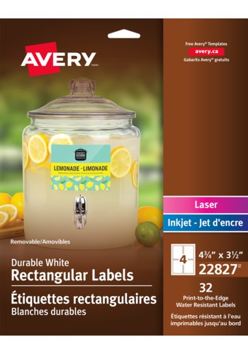 Avery® 22827 - Removable Durable Rectangular Labels ,  4-3/4in. x 3-1/2in., Rectangle, White