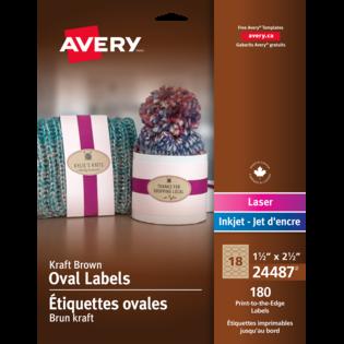 Avery® Étiquettes ovales imprimables jusqu'au bord