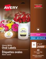 Avery<sup>®</sup> Étiquettes ovales imprimables jusqu'au bord pour imprimantes à jet d'encre 24489
