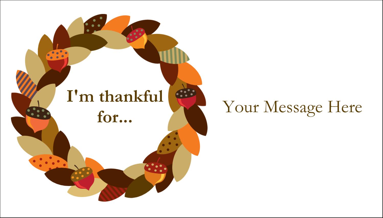 """2"""" x 3½"""" Business Card - Acorn Wreath"""