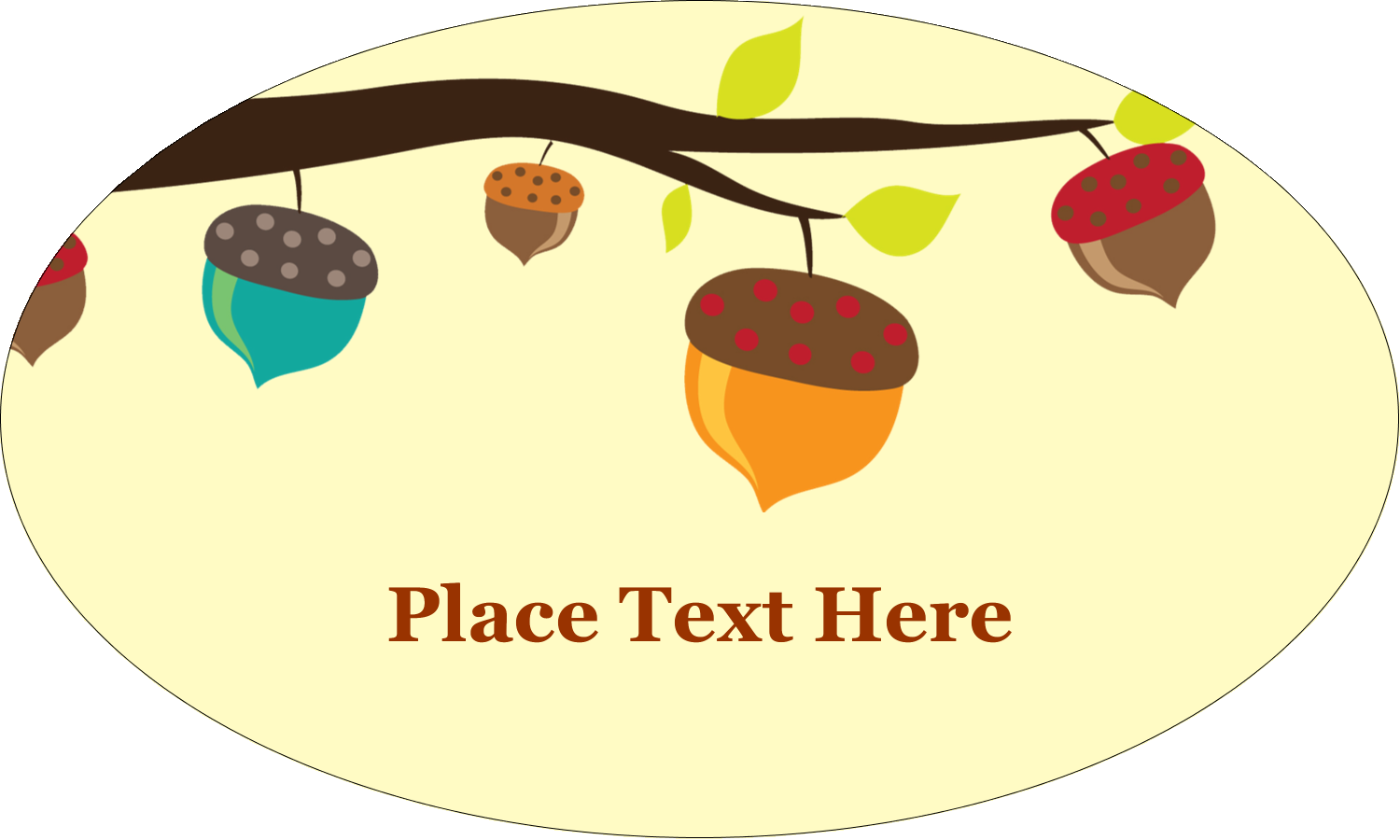 "1½"" x 2½"" Oval Glossy Label - Acorn Tree"