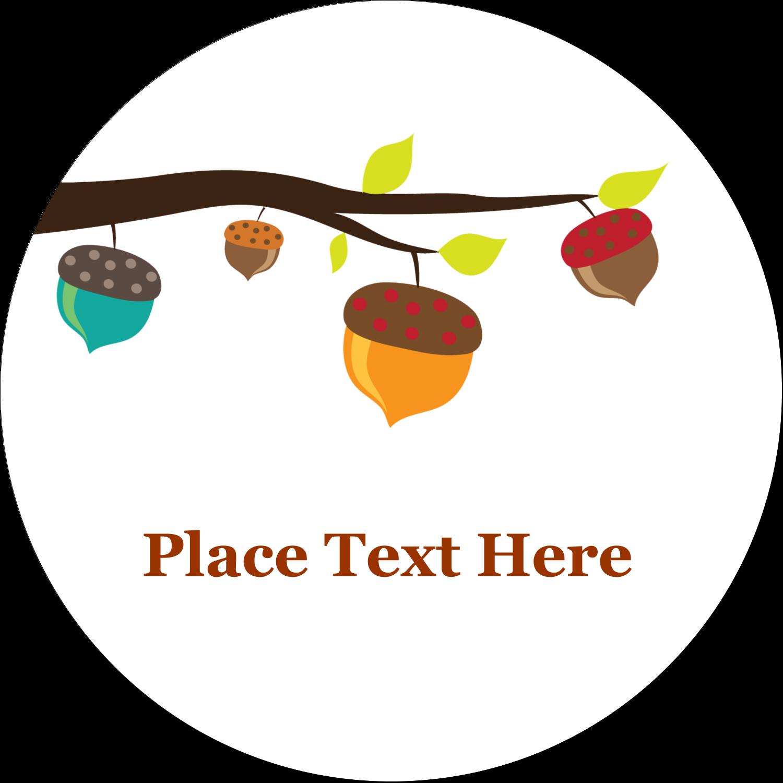 """2½"""" Round Label - Acorn Tree"""