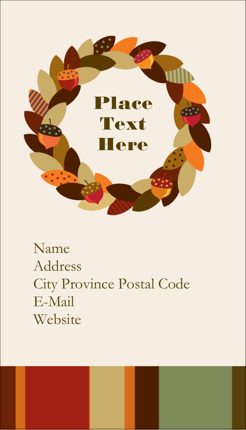 "3½"" x 2"" Business Card - Acorn Wreath"