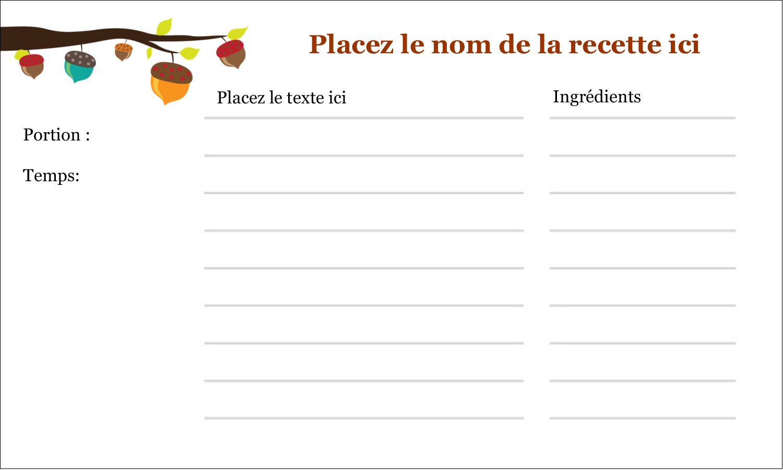 """3"""" x 5"""" Cartes Pour Le Bureau - Branche de glands"""
