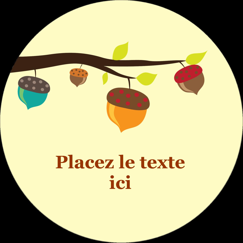 """1½"""" Diameter Étiquettes Voyantes - Branche de glands"""