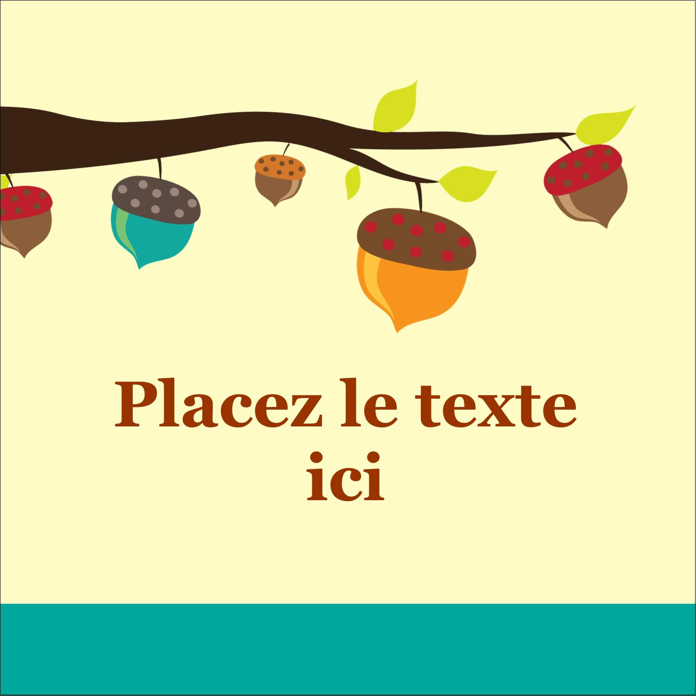 """1½"""" x 1½"""" Étiquettes carrées - Branche de glands"""