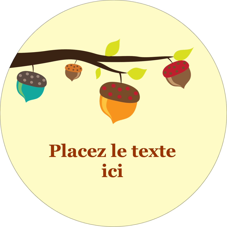 """2½"""" Diameter Étiquettes rondes - Branche de glands"""