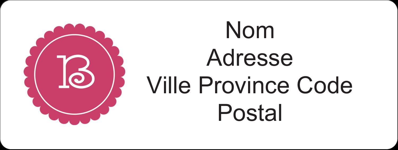 """⅔"""" x 1¾"""" Étiquettes D'Adresse - Monogramme en chevron"""