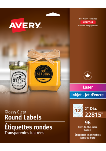 Avery<sup>&reg;</sup> Glossy Clear Round Labels - Avery<sup>&reg;</sup> Glossy Clear Round Labels