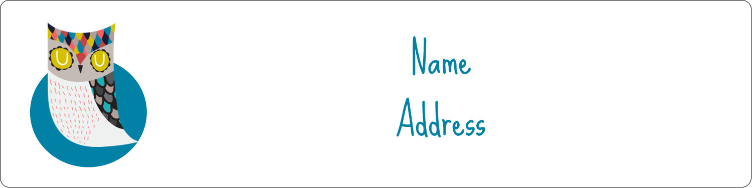 "1"" x 4"" Address Label - Artful Owl"