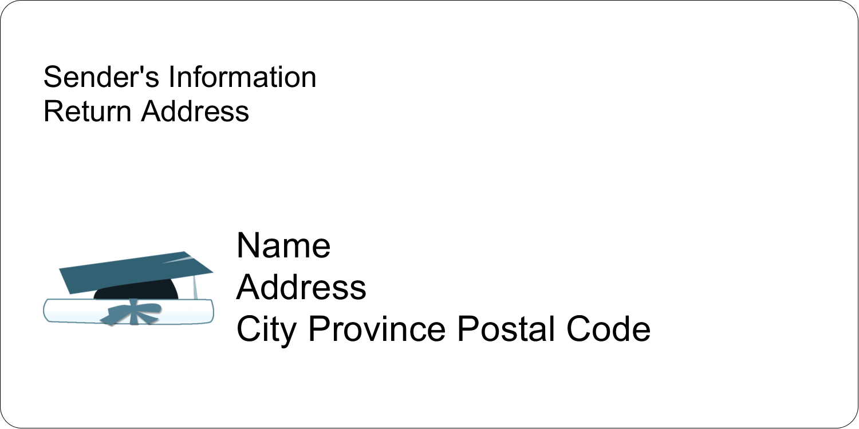 "2"" x 4"" Shipping Label - Blue Graduation"
