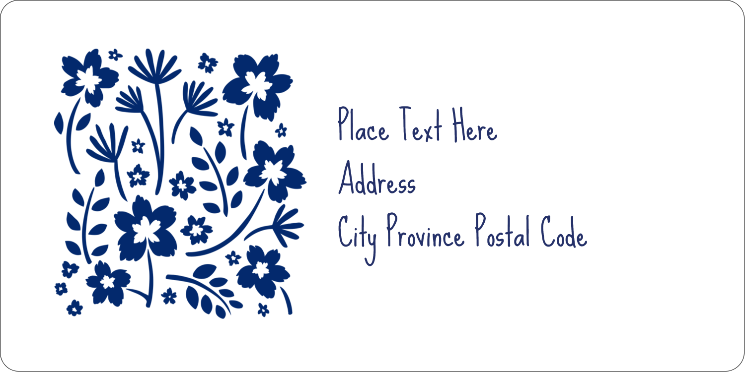 "2"" x 4"" Shipping Label - Small Floral Blue"