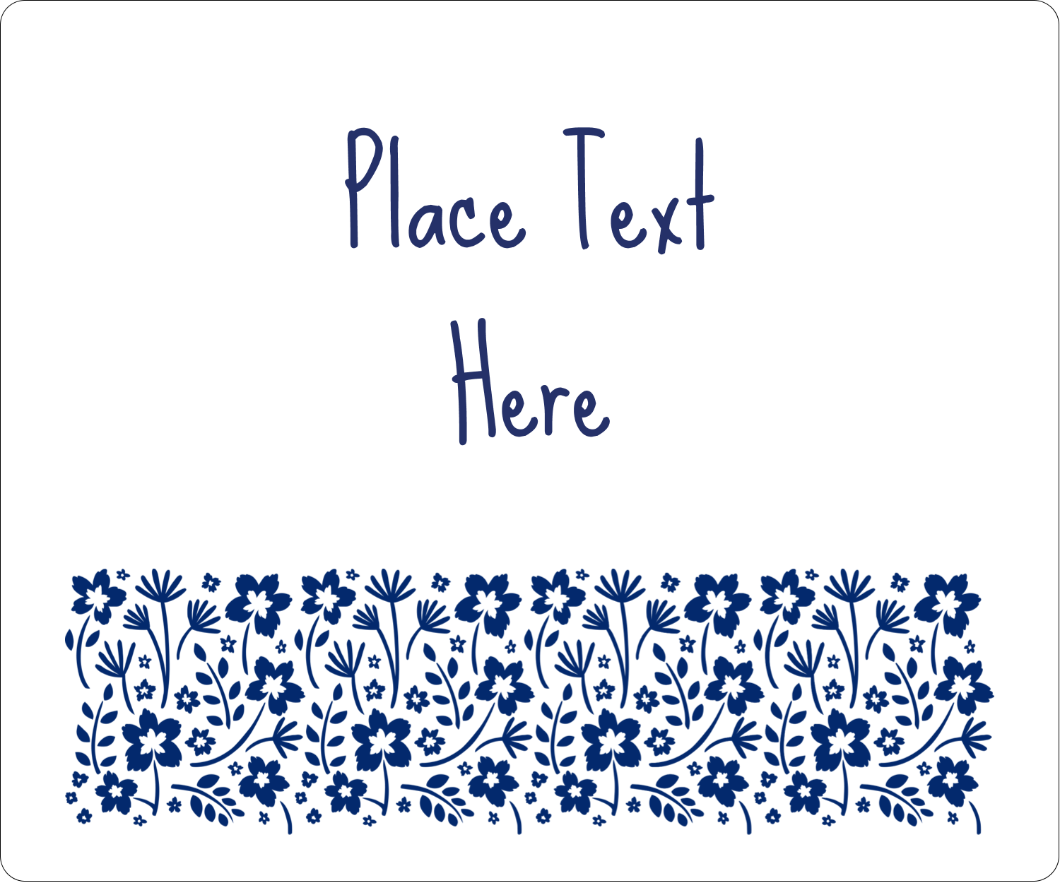 "4"" x 3⅓"" ID Label - Small Floral Blue"