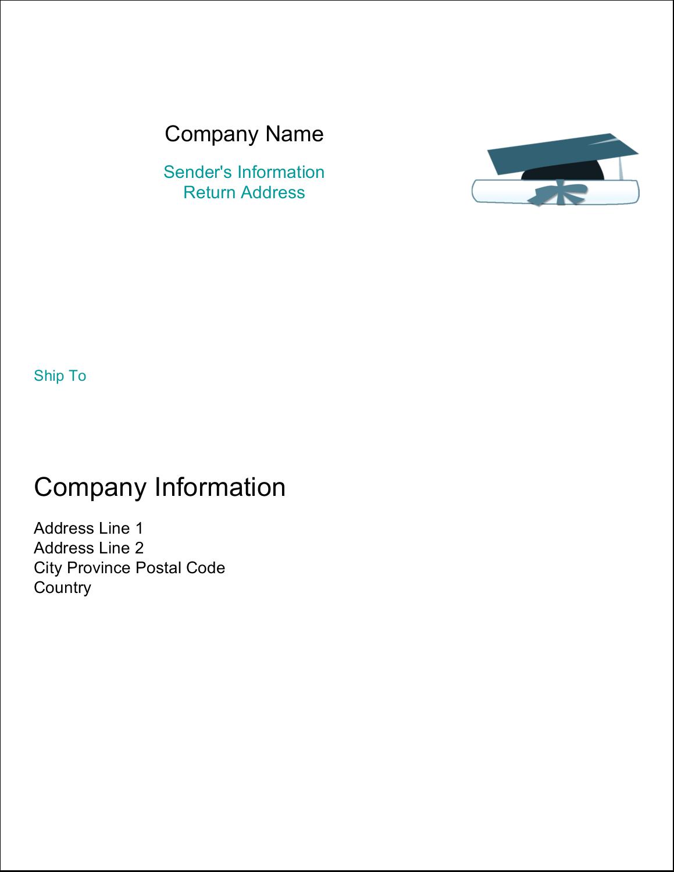 "11"" x 8½"" Shipping Label - Blue Graduation"