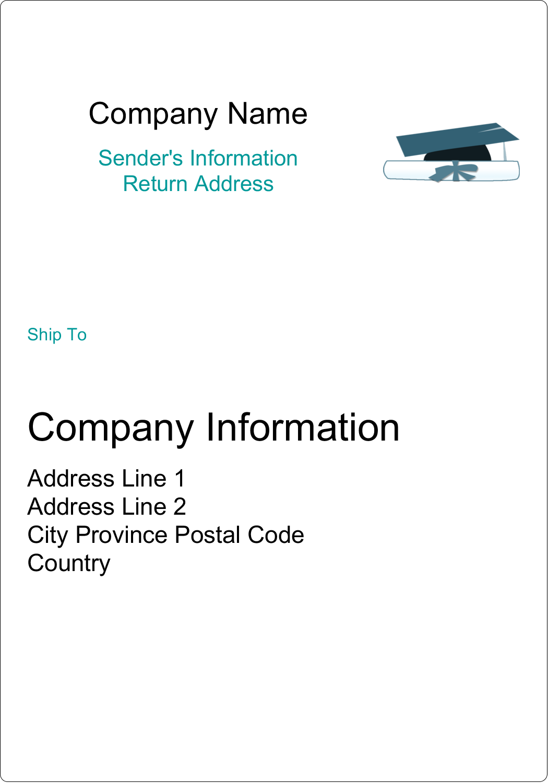 "5"" x 3½"" Shipping Label - Blue Graduation"