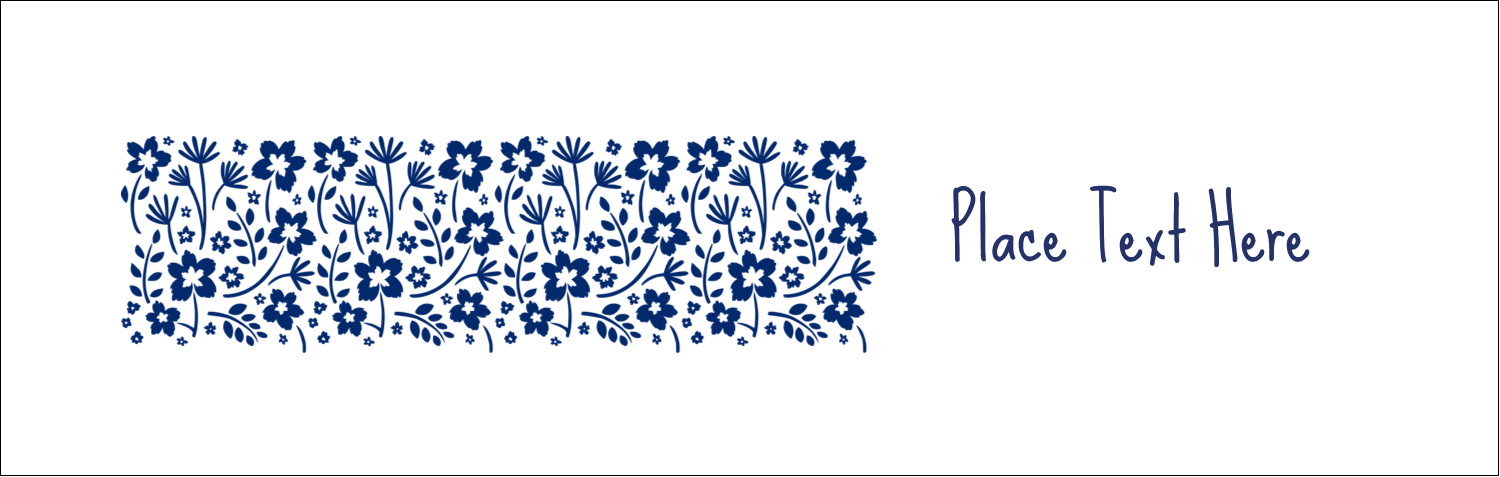 """3½"""" x 11"""" Tent Card - Small Floral Blue"""