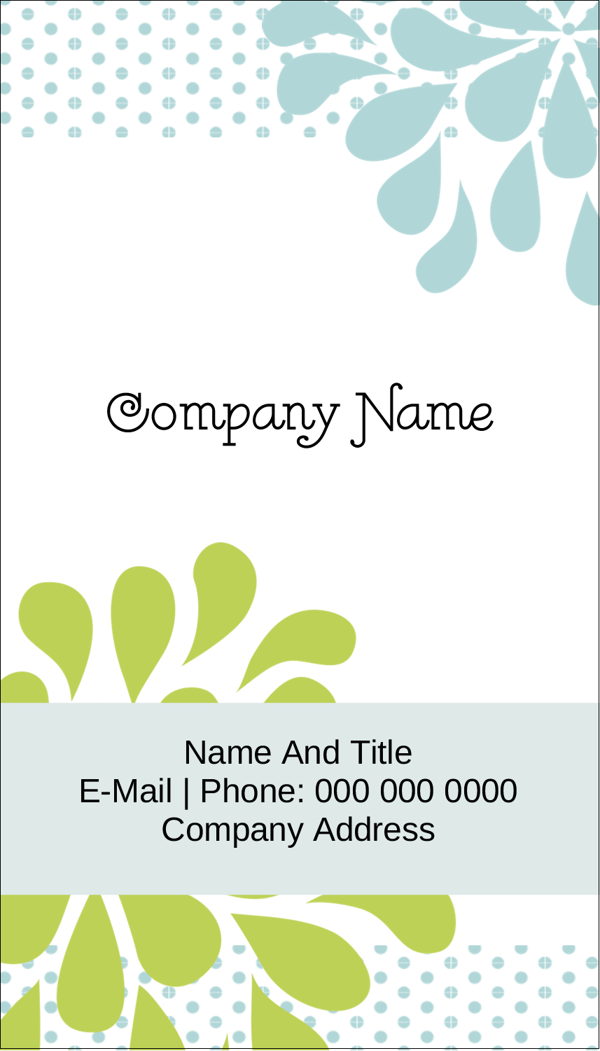 "3½"" x 2"" Business Card - Blue Green Blooms"