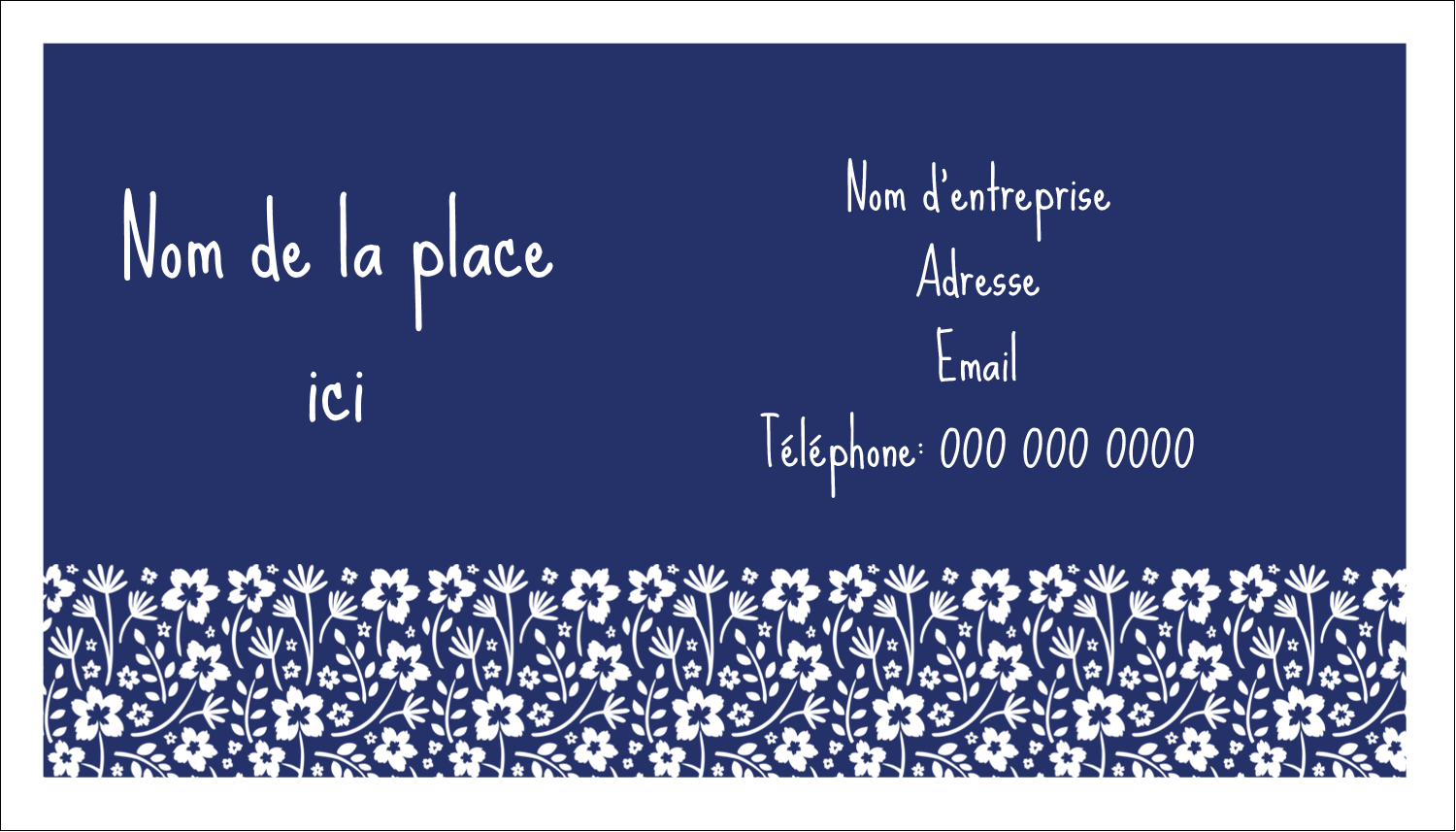 "2"" x 3½"" Carte d'affaire - Petit bouquet bleu"