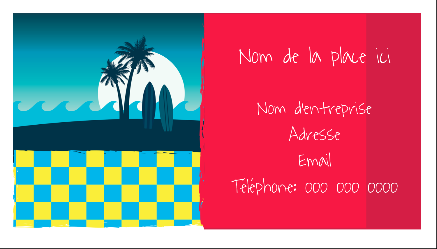 "2"" x 3½"" Carte d'affaire - Surf tropical"