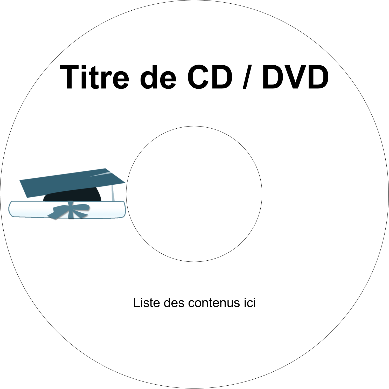 CD/DVD Étiquettes Pour Médias - Remise des diplômes en bleu