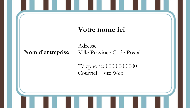 "2"" x 3½"" Carte d'affaire - Rayures bleues"