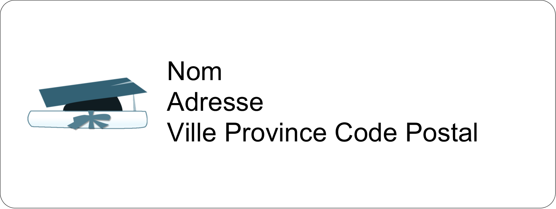 """⅔"""" x 1¾"""" Étiquettes D'Adresse - Remise des diplômes en bleu"""