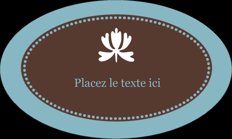 """1½"""" x 1½"""" Étiquettes carrées - Bordure en brun et bleu"""