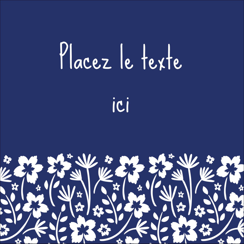 """1½"""" x 1½"""" Étiquettes carrées - Petit bouquet bleu"""