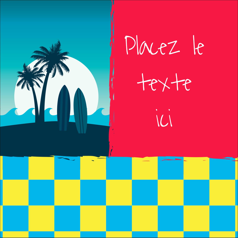 """1½"""" x 1½"""" Étiquettes carrées - Surf tropical"""
