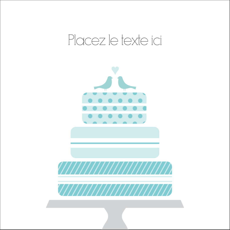 """2"""" Diameter Étiquettes rondes - Figurines d'oiseau bleu pour gâteau de noces"""
